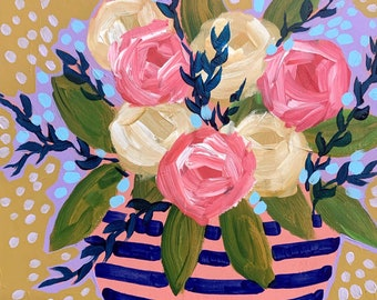 September Florals No. 10  - Original Painting on Cradled Wood