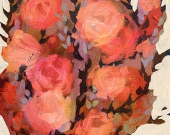 """September Floral No. 3 - Original Painting - Acrylic on 8"""" x 10"""" Canvas"""