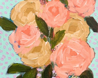 """September Floral No. 7 - Original Painting - Acrylic on 8"""" x 10"""" Canvas"""