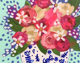 September Florals No. 9  - Original Painting on Cradled Wood
