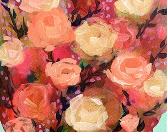 """September Floral No. 1 - Original Painting - Acrylic on 8"""" x 10"""" Canvas"""