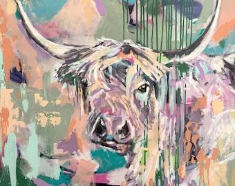 """Original Painting - Highland Cow - Mixed Media on 30"""" x 30"""" Canvas"""