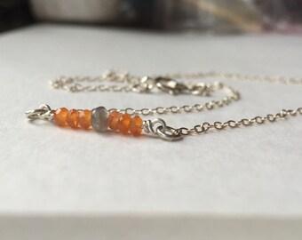 Labradorite & faceted Orange Carnelian bar necklace