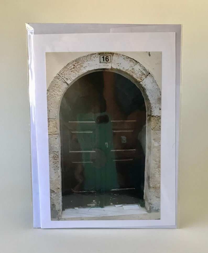 Set of 4 Photo Greeting Cards 5x7 card with 4x6 photo blank inside Doors of Greece