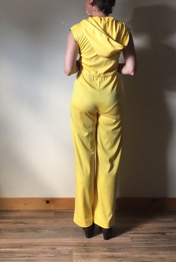 70s Yellow Hooded Jumpsuit - image 3
