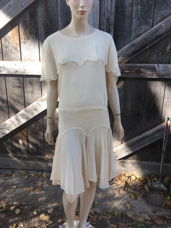 1920s Cream Silk Cape Dress