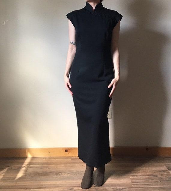 80s Norma Kamali Black Cheongsam Dress
