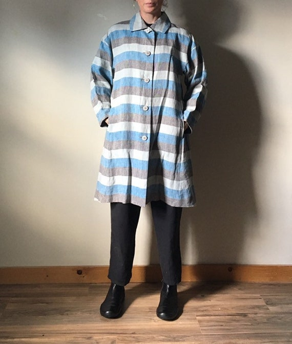 Issey Miyake Pleats Please Linen Duster Coat - image 3