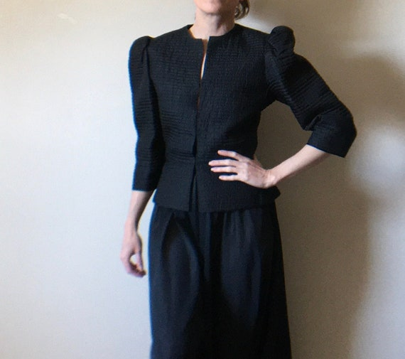 Mary McFadden Quilted Puff Sleeve Jacket
