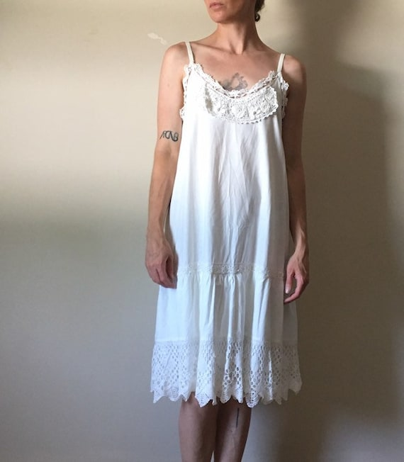 White Cotton and Vintage Lace Dress