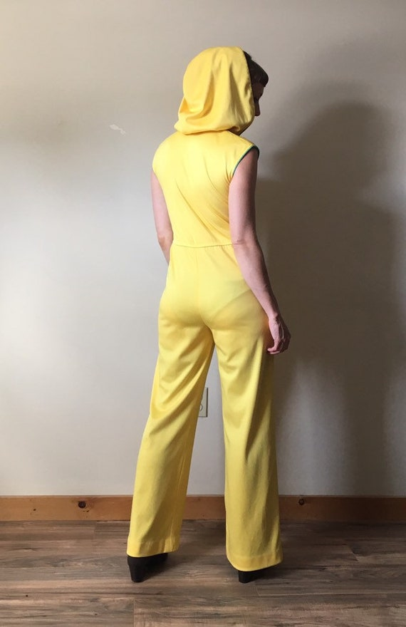 70s Yellow Hooded Jumpsuit - image 5