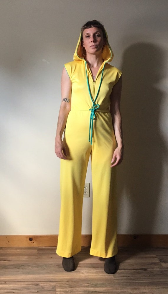 70s Yellow Hooded Jumpsuit - image 1