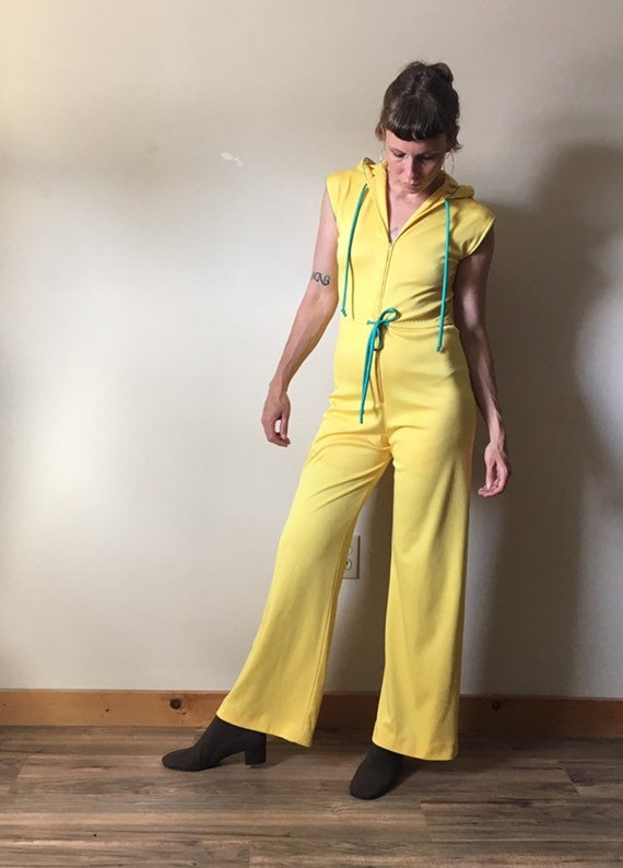 70s Yellow Hooded Jumpsuit - image 2