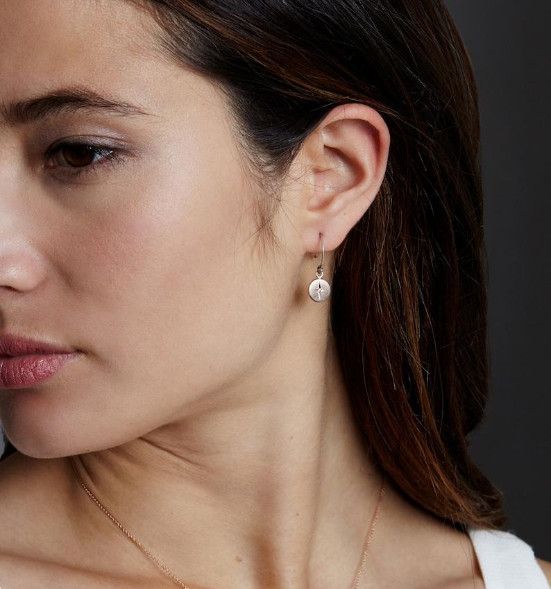 Sterling Silver Diamond Dangle Earrings- simple silver earrings handmade star sterling silver and diamond diamond earrings