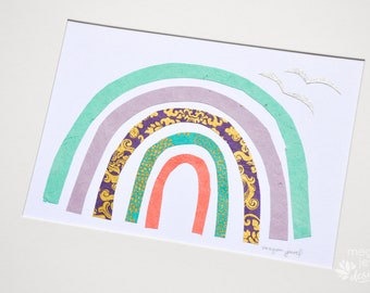 Paper Rainbow #2, Original Paper Collage by Megan Jewel Designs, Cut Paper, Rainbow Art, Whimsical Art, Kids Decor