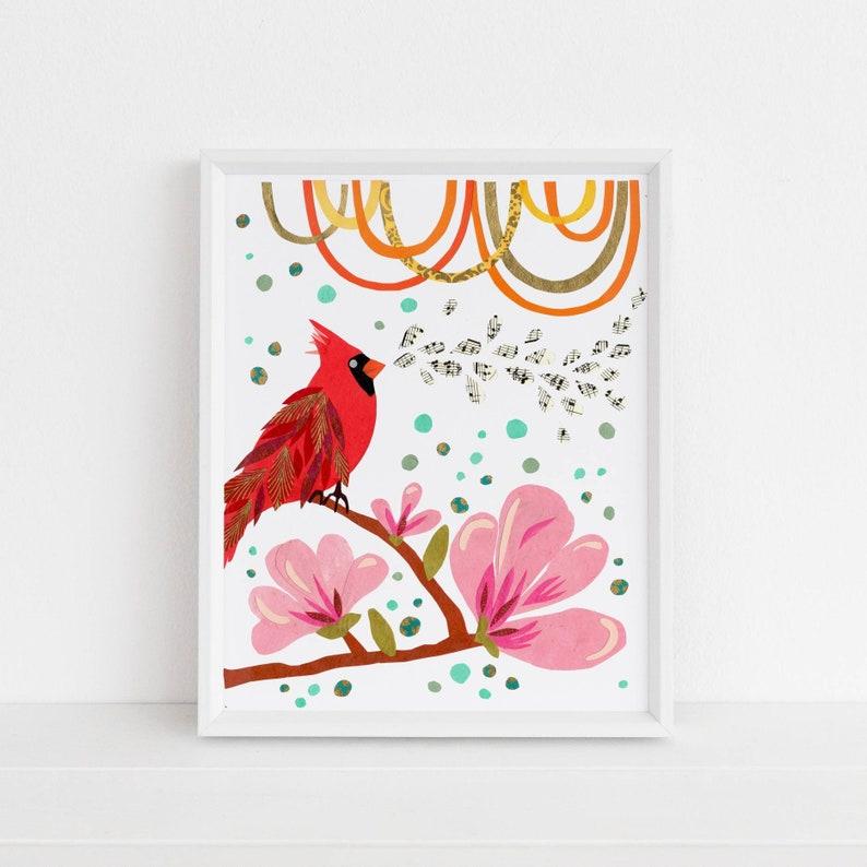 Cardinal & Japanese Magnolias  Land Sea  Sky Collection image 0