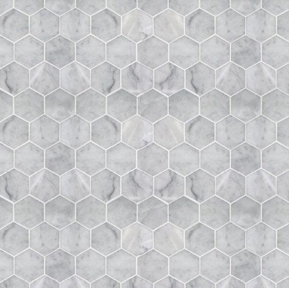 Printable Pdf Modern Dollhouse Wallpaper Hexagon Marble Etsy