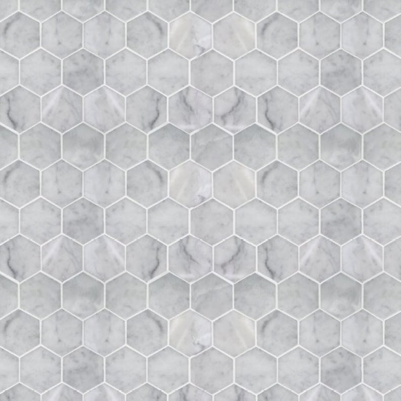 image relating to Dollhouse Wallpaper Printable titled Printable PDF ground breaking dollhouse wallpaper - Hexagon marble surface area tile