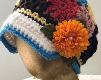Colorful Patchwork Crochet Brimmed Boho Style Hat w Clip Girls 4 6