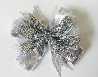 Silver Holiday Sparkle Bow Girls Hair Bow Clip