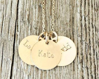 Children's Gold Name Necklace, Personalized Gold Necklace, Hand Stamped Gold Necklace, Push Present, Gold-Filled Jewelry