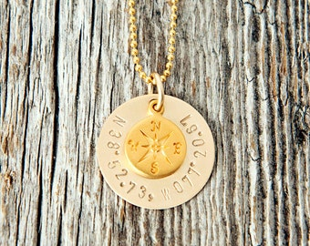 Gold Coordinate Necklace, Gold Compass Necklace, Gold Coordinate Necklace, Anniversary Gifts, Birthday Gifts, Wedding Gifts, Adoption Gifts