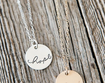 Hope Charm Necklace, Inspirational Jewelry, Sympathy Gift, Faith Jewelry, Hand lettered, Hand stamped Sterling Silver or Gold Necklace,