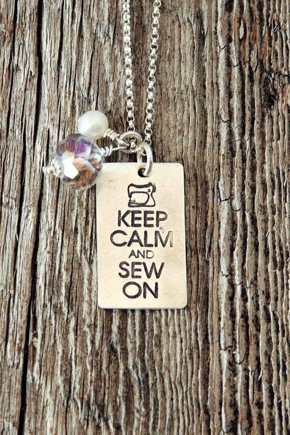 Keep calm and sew on pedant - great gift for sewers
