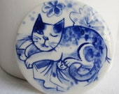 John - The Winking cat -  Unique Hand Made Porcelain Delft Blue Tile/Wall Hanging - ready to ship