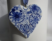 Porcelain  Heart -  Blue and white Delftware Wall hanging/ornament