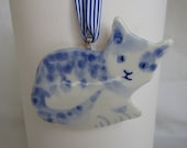 Newcomer - Delft Blue Porcelain Kitten -  Blue and white Delftware  Ornament - wall hanging-Christmas decoration
