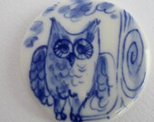 Owl  Necklace - Hand made & Hand painted Blue and White Delftware Porcelain.
