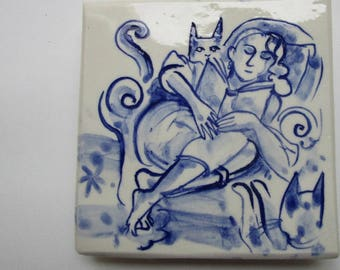 Made to order - The cat lady likes a good read -  Unique Hand Made Porcelain Delft Blue Tile/Wall Hanging