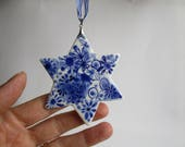Delft Star Christmas Tree  Ornament - Hand painted  Blue and white porcelain ornament