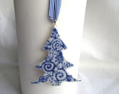 Sergei - Blue Delft Christmas tree - handpainted  porcelain heirloom  ornament- Dutch Delft Blue - Original - Holland - Dutch Gift