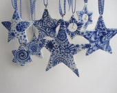 Delftware Star ornament - Hand painted  Blue and white ceramic heirloom Christmas ornament
