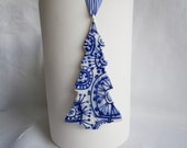 Blue Delft Christmas tree - handpainted  porcelain heirloom  ornament- Dutch Delft Blue - Original - Holland - Dutch Gift