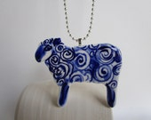 Hand formed and hand painted porcelain Delft necklace - Sheep