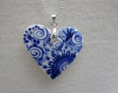 Small Heart  necklace - Hand made & Hand painted Blue and white Delftware porcelain.