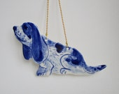 Delft Blue Porcelain Basset Hound -  Dutch - Holland - Blue and white Delftware  Ornament - wall hanging-Christmas decoration- Dog - Nordic