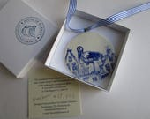 Stork - Handpainted Delft  Porcelain Ornament/ wall hanging