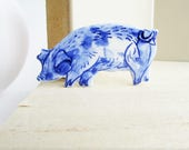 Harriet - Pig Pin - Brooch - Handpainted Blue Delft Porcelain - unique hand made - Dutch Blue - farm animal