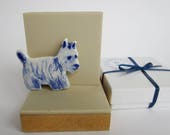 West Highland Terrier  -  Handpainted Blue Delft porcelain Brooch