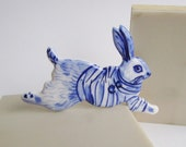 Rabbit with a Breton striped shirt - Brooch - Handpainted Blue DelftPorcelain