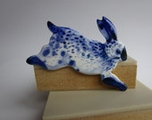 Monique - Rabbit Brooch - Handpainted Blue Delftware Porcelain