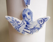 Rique - Angel - Handformed and handpainted porcelain Delft ornament/wall hanging
