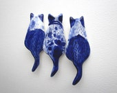 Cat  Brooch - Handpainted Delft blue porcelain Brooch
