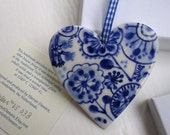 Porcelain  Heart - Original Handpainted Blue and white Delftware Dutch Valentine Gift Wall hanging/ornament
