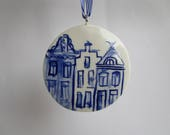 Dutch Blue Delft Canal Houses - Amsterdam Gables -  Handpainted  Porcelain Ornament/ Wall Hanging - Holland - The Netherlands