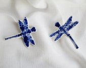 Dragonfly Brooch - Hand made Hand painted painted Blue Delftware Porcelain